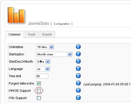 Desactivar whois lookup en Joomla Stats